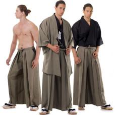 Brown Japanese Samurai Kimono Set 3 pieces HM20