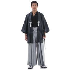 Grey Black Japanese Samurai Kimono Set 3 pieces HM39
