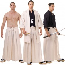 Cream Japanese Samurai Kimono Costume Set 3 pieces