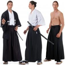 Black and White Japanese Samurai Kimono Set 3 pieces HM8