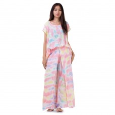 Set of Tie Dye Blouse and Skirt Pants in Pink Tone RBB1