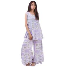 Set of Tie Dye Sleeveless Blouse and Skirt Pants in Purple Grey RBB10