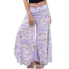 Batik Tie Dye Skirt pants, open leg pants Bohemian style in Purple tone RBB10B