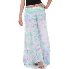 Batik Tie Dye Skirt pants, open leg pants Bohemian style in Green tone RBB11B
