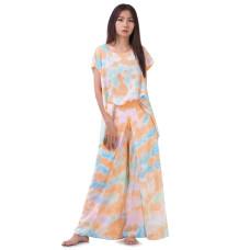 Set of Tie Dye Blouse and Skirt Pants in Orange Tone RBB3