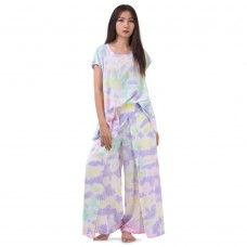Set of Tie Dye Blouse and Skirt Pants in Purple Tone RBB4
