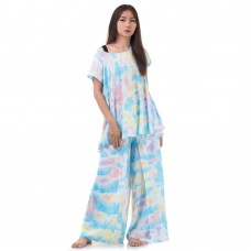 Set of Tie Dye Blouse and Skirt Pants in Blue Tone RBB5