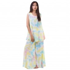 Set of Tie Dye Sleeveless Blouse and Skirt Pants in Yellow Tone RBB8