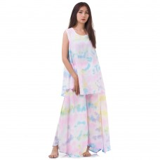 Set of Tie Dye Sleeveless Blouse and Skirt Pants in Rainbow Color RBB9
