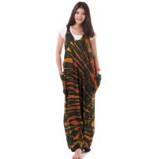 Brown Batik Jumpsuit Jumper Overalls Harem Pants RDP225