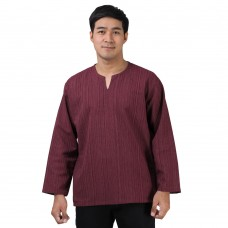 Natural Cotton Hippie Casual Long Sleeve Shirt in Claret Red RNM488