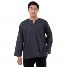 Natural Cotton Hippie Casual Long Sleeve Shirt in Black RNM489