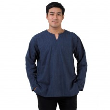 Natural Cotton Hippie Casual Long Sleeve Shirt in Navy Blue RNM490