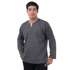 Natural Cotton Hippie Casual Long Sleeve Shirt in Grey RNM491