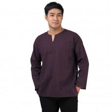 Natural Cotton Hippie Casual Long Sleeve Shirt in Purple RNM492