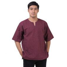 Natural Cotton Hippie Casual Short Sleeve Shirt in Claret Red RNM493