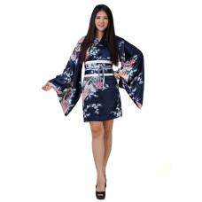 Sexy Short Kimono Satin Navy Blue