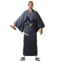 Japanese Men's Yukata Kimono Grey XKM111-Yukata