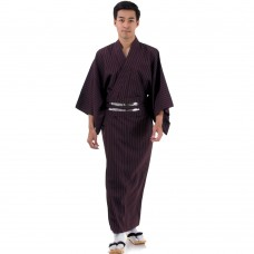 Japanese Men's Yukata Kimono Claret Red