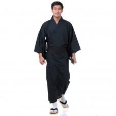Japanese Men's Yukata Kimono Blue Green Pattern XKM127