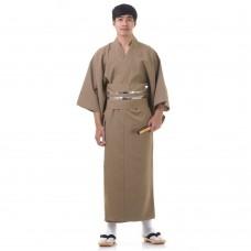 Japanese Men's Yukata Kimono Brown