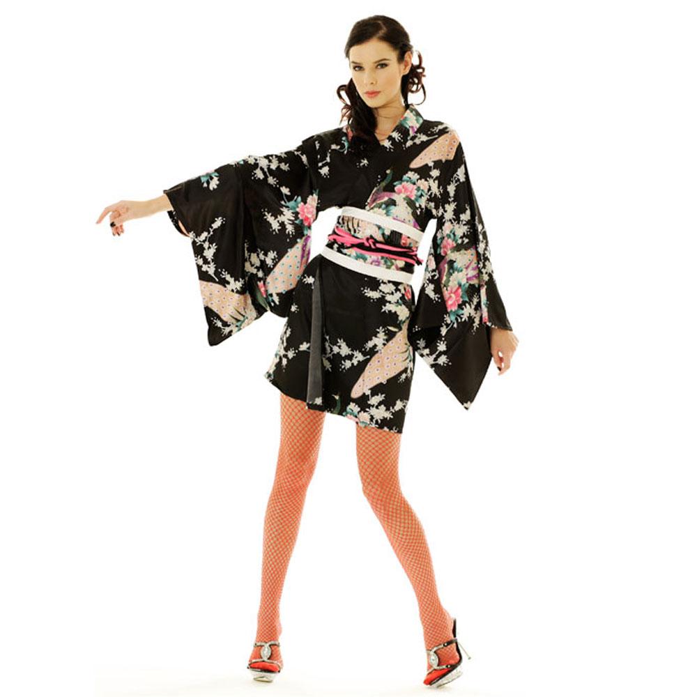 Sexy White Black Floral Print Short Sleeves Open Front Kimono